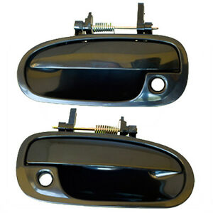 96 00 Honda Civic Exterior Outside Door Handle Black Front Pair