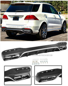 For 16 up Mb W166 Gle class Amg Style Rear Bumper Quad Muffler Tips Diffuser