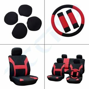Car Seat Cover W Headrest Steering Wheel Belt Pad Red Black For Porsche
