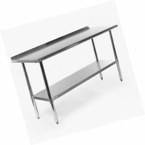 Gridmann Nsf Stainless Steel Commercial Kitchen Prep Work Table W Backspla