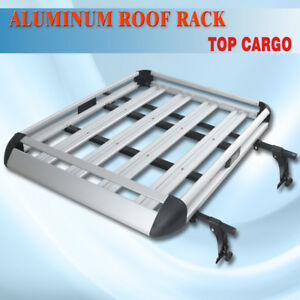 Aluminum 50 x38 Roof Cargo Carrier Rack Basket Crossbar Fit Vehicle Rain Gutter