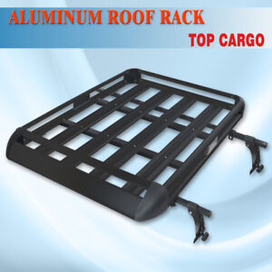 Black 50 x38 Roof Cargo Luggage Rack Basket Crossbar Fit Vehicle Rain Gutters