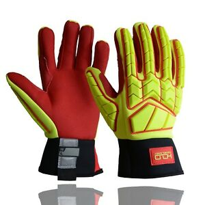 Anti Impact Work Gloves Hi vis Oil Gas Safety heavy Duty Utility Mechanic Cr5