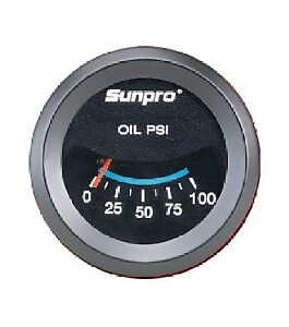 Sunpro 2 Oil Pressure Gauge Black Black Bezel 0 100 Psi New Cp7982 Warranty