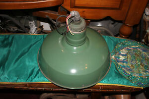 Antique Wheeler Boston Industrial Porcelain Barn Gas Station Light Fixture Green