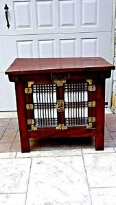 Antique 19c Korean Small Tansu Two Door Chest With Lift Top Choson Dynasty