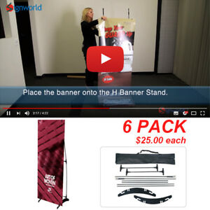Portable H Banner Stand Trade Show Booth Exhibit Display 24 x63 6 Pcs