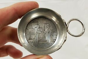Antique French Engraved Sterling Silver Wine Taster With Vintner Scene