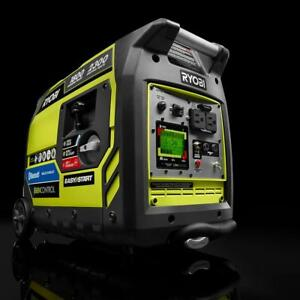 New Ryobi 2300 watt Quiet Gasoline Powered Digital Inverter Generator Pr Avail