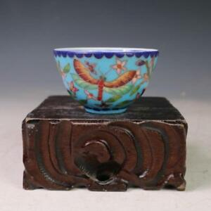 China Old Antique Ming Chenghua Cloisonne Wire Inlay Dragonfly Flower Cup Blue