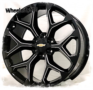 22 Inch Gloss Black Milled Snowflake Wheels Fits 2018 Chevy Suburban Ltz 6x5 5