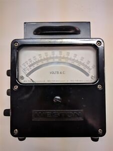 Vintage Weston Model 433 Volts Ac Meter 0 150v 300v 600v Tested Vgc