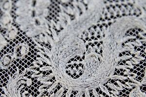 Vtg Antique White Cotton Tambour Lace Wedding Bridal Handkerchief Lg 1800 S