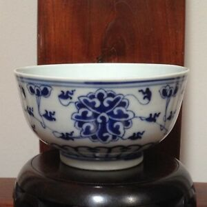 Antique Chinese Porcelain B W Rice Bowl Late Qing Early Republic Blue Marks
