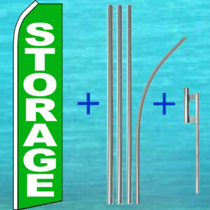 Storage Swooper Flag Pole Mount Kit Tall Curved Flutter Feather Banner Sign