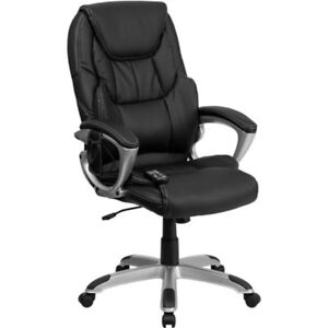 Black Office Chair Furniture High Back Massaging Leather Executive Desk Seat New