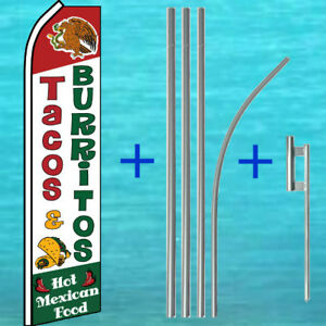 Tacos Burritos Flutter Flag Pole Mount Kit Tall Feather Swooper Banner Sign