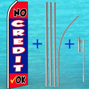 No Credit Ok Flutter Flag Pole Mount Kit Tall Wind Feather Swooper Banner Sign