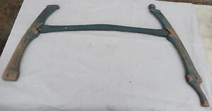 Antique 3 Piece Hand Carved Buck Saw In Old Blue Paint No Blade Or Stretcher