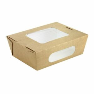 Packnwood Kraft Paper Take out Salad Box With 2 Windows 35 Oz Capacity Case Of