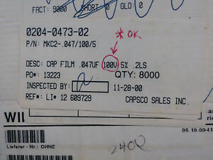 Wima Mkc2 047 100 5 Capacitor Lots Of 4800