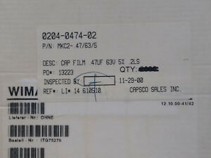 Wima Mkc2 47 63 5 Capacitor Lots Of 1200