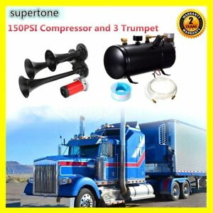 Black 150psi Compressor 115 10db 3 trumpet Air Horn Heavy Duty Kit Truck Train