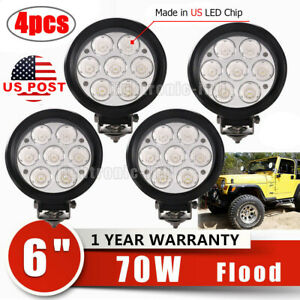 4x 6inch 70w Round Led Driving Work Light Flood Beam Fog Offroad Jeep 4wd Lamp