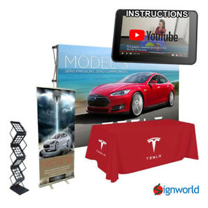 Trade Show Kit 2 Roll Up Banner Table Throw Literature Rack Fabric Pop Up