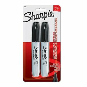 New Sharpie 2 Black Chisel Tip Permanent Markers