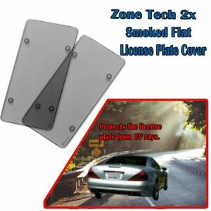 Zone Tech 2x Smoked Flat License Plate Cover Tinted Tag Protector Us And Canada