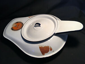 Vtg Odex Enamel Bed Pan White Porcelain Chamber Pot Antique Urinal With Lid