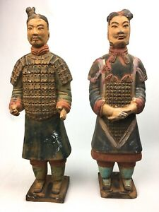 Chinese Pottery Soldiers Figures Statues 15 In Tall Large Vintage Late 1900 S