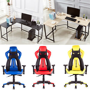 High Back Racing Car Style Office Gaming Chair Or L shape Corner Computer Desk