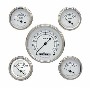 Classic Instruments Classic White Series 5 Guage Set Cw00slf Flat Glass Speedo