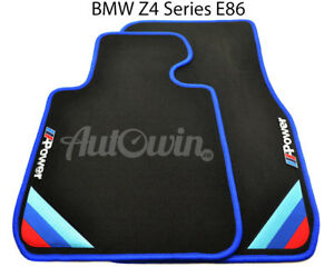 Bmw Z4 Series E86 Black Floor Mats Blue Rounds With m Power Emblem Lhd New