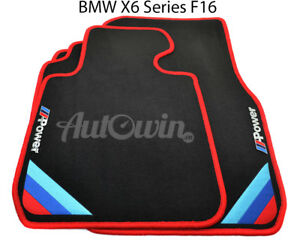 Bmw X6 Series F16 Black Floor Mats Red Rounds With m Power Emblem Lhd New