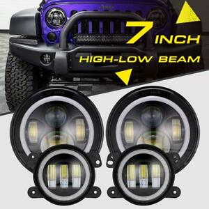 Led Halo Headlights Led Fog Light Drl Combo Kit For Jeep Wrangler Jk 2007 2018