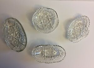 4 Candy Dishes Bowls American Brilliant Period Antique Cut Glass Raised Stars
