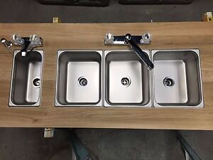 New Concession Sink Standard 1small Hand Wash 4 Compartment 3 Large Food Trailer