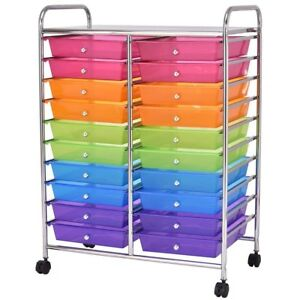 Mutli Color 20 Drawers Studio Storage Rolling Cart