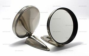 Pair Of 5 Durant Stainless Steel Mirror Reproduction Porsche 356 911 912