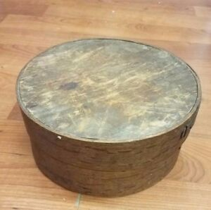 Antique Round Wooden Shaker Style Pantry Cheese Box Circa 1850 S
