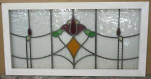 Large Old English Leaded Stained Glass Window Nice Abstract Floral 39 75 X 20 75