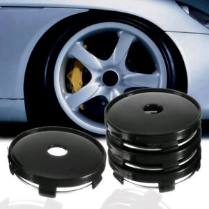 4pcs Black 60mm Abs Universal Car Wheel Tire Rims Center Hub Caps Cover Decor