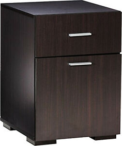 2 Drawer File Cabinet Filing Storage Organizer Espresso Finish Wood Home Office