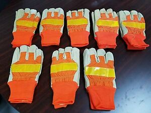 8 Pair Xl Men s High Visibility Lined Pigskin Safety Gloves Reflective Construc