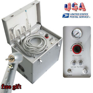 Portable Dental Delivery Cart Dental Turbine Unit W Air Compressor Led Handpiece