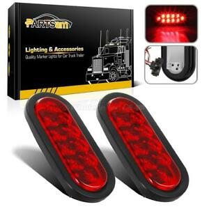 2pc Red 6 Oval 10 Led Truck Trailer Brake Stop Turn Tail Lights W Grommet Plug
