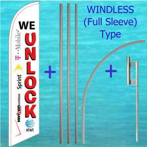 We Unlock Windless Banner Flag Pole Mount Kit Tall Cell Phone Feather Swooper